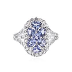 SILVER 1.48 ctw Tanzanite and White Sapphire Ring