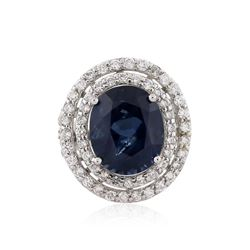 18KT White Gold GIA Certified 12.00 ctw Sapphire and Diamond Ring