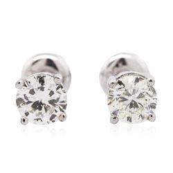 14KT White Gold 0.94 ctw Diamond Solitaire Earrings