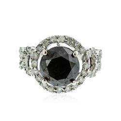 14KT White Gold 6.34 ctw Black Diamond Ring