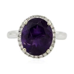 14KT Two-Tone Gold 4.36 ctw Amethyst and Diamond Ring