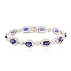 14KT White Gold 7.00 ctw Sapphire and Diamond Bracelet