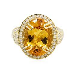 14KT Yellow Gold 7.71 ctw Citrine Quartz and Diamond Ring