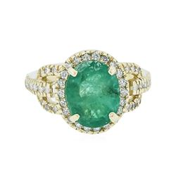 14KT Yellow Gold 2.84 ctw Emerald and Diamond Ring