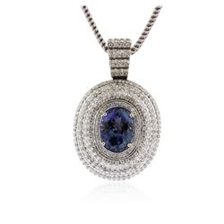 14KT White Gold 9.50 ctw Tanzanite and Diamond Pendant With Chain