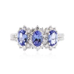 14KT White Gold 1.32 ctw Tanzanite and Diamond Ring