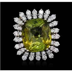 14KT White Gold 15.42 ctw Tourmaline and Diamond Ring