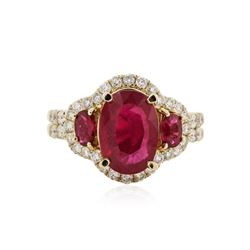 14KT Yellow Gold 3.58 ctw Ruby and Diamond Ring