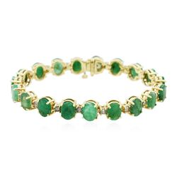 14KT Yellow Gold 20.90 ctw Emerald and Diamond Bracelet