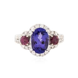 14KT White Gold 2.70 ctw Tanzanite, Tourmaline and Diamond Ring