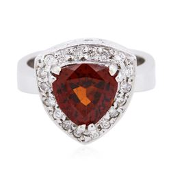 18KT White Gold 3.18 ctw Garnet and Diamond Ring