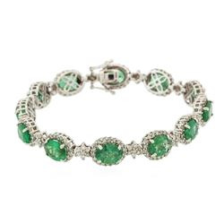 14KT White Gold 10.60 ctw Emerald and Diamond Bracelet
