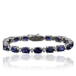14KT White Gold 19.80 ctw Sapphire and Diamond Bracelet