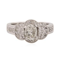 18KT White Gold 1.48 ctw Oval Cut Diamond Ring