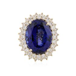 14KT Yellow Gold 21.26 ctw Tanzanite and Diamond Ring