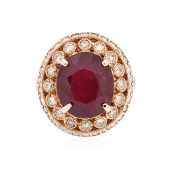14KT Rose Gold 5.47 ctw Ruby and Diamond Ring