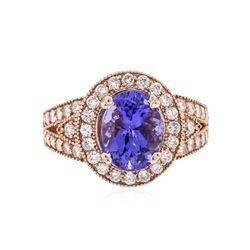 14KT Rose Gold 3.66 ctw Tanzanite and Diamond Ring