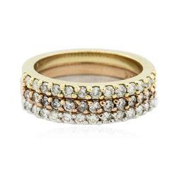 14KT Three-Tone Gold 0.70 ctw Diamond Rings