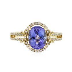 14KT Yellow Gold 2.29 ctw Tanzanite and Diamond Ring
