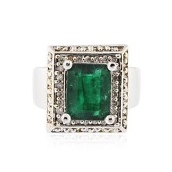 14KT White Gold 3.83 ctw Emerald and Diamond Ring