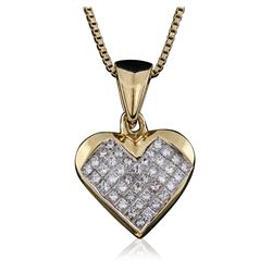14KT Yellow Gold 0.80 ctw Diamond Pendant With Chain