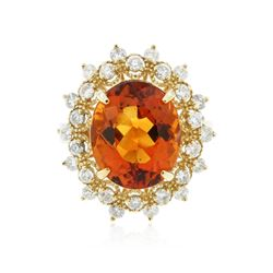 14KT Yellow Gold 5.03 ctw Citrine and Diamond Ring