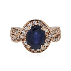 14KT Rose Gold 3.24 ctw Sapphire and Diamond Ring