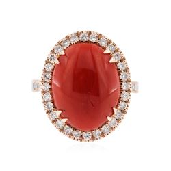 14KT Rose Gold 10.94 ctw Coral and Diamond Ring