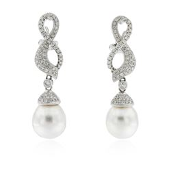 14KT White Gold Pearl and Diamond Earrings