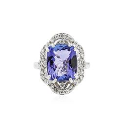 14KT White Gold 5.45 ctw Tanzanite and Diamond Ring
