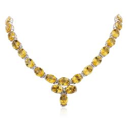 PLATED SILVER 136.31 ctw Citrine and White Topaz Necklace