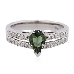 14KT White Gold 0.29 ctw Alexandrite and Diamond Ring