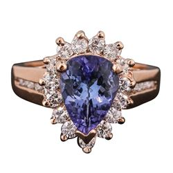 14KT Rose Gold 2.40 ctw Tanzanite and Diamond Ring