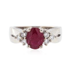 14KT White Gold 1.32 ctw Ruby and Diamond Ring