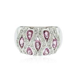 14KT White Gold 1.40 ctw Pink Tourmaline and Diamond Ring