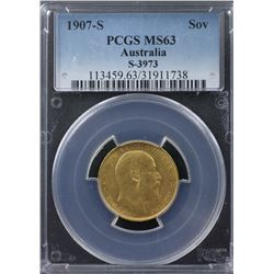 1907-S Sovereign PCGS MS63