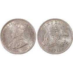 1911 Sixpence PCGS AU58
