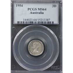 1954 Threepence PCGS MS64
