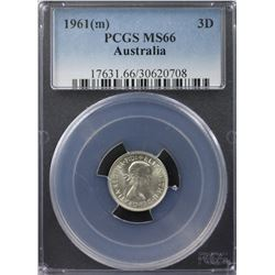 1961(m) Threepence PCGS MS66