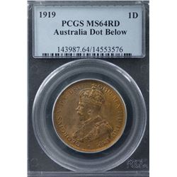 1919 Dot Below Penny PCGS MS64RD