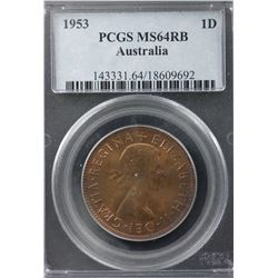1953 Penny PCGS MS64RB