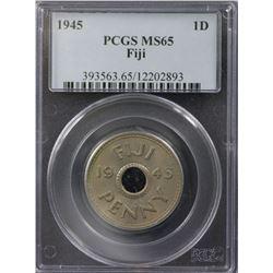 Fiji Penny 1945 PCGS MS 65