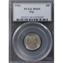 Fiji Sixpence 1962 PCGS MS 65