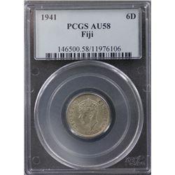 Fiji Sixpence and Shilling 1941 PCGS AU 58