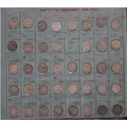 Complete Set 3 Pence & Sixpences in Plastic pages 1910 to 1963