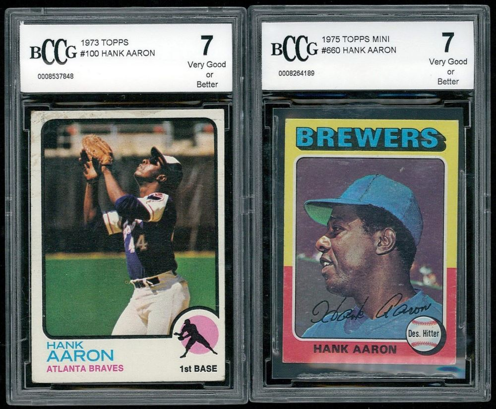 Lot Of 2 Hank Aaron Baseball Cards With 1973 Topps 100