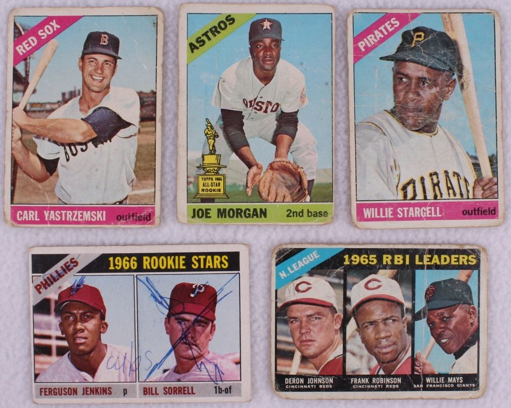 Lot Of 50 1966 Topps Baseball Cards With 410 Al Kaline 30 Pete