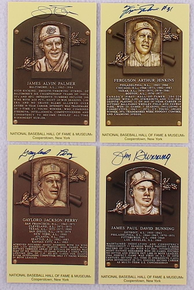 Lot Of 4 Signed Gold Hof Postcards With Gaylord Perry Jim