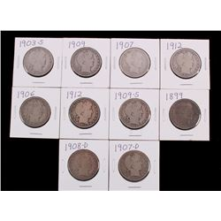 1899-1912 Silver Barber Half Dollars (10)