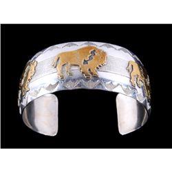 Navajo Silver 12KGF Buffalo Bracelet Thomas Singer